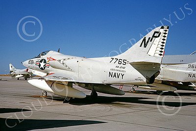 A-4USN 00333 A static Douglas A-4C Skyhawk attack jet US Navy 147765 VA-216 BLACK DIAMONDS USS Hancock NAS Lemoore 9-1965 military airplane picture by Doug Olson