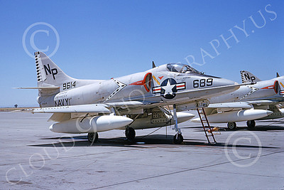 A-4USN 00334 A static Douglas A-4C Skyhawk attack jet US Navy 149614 VA-216 BLACK DIAMONDS USS Hancock NAS Lemoore 8-1965 military airplane picture by Doug Olson
