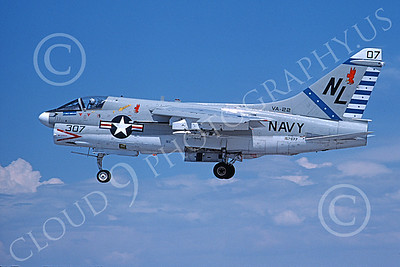 A-7USN 00142 A landing Vought A-7E Corsair II USN 157577 VA-22 FIGHTING REDCOCKS USS Kitty Hawk 8-1976 by Michael Grove, Sr