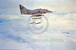 OR-A-4 0001 A Douglas A-4 Skyhawk USN attack jet VA-23 BLACK KNIGHTS drops conventional bombs circa Vietnam Ear era USN photograph via Tailhook Col  produced by Cloud 9 Photography     DONEw ...