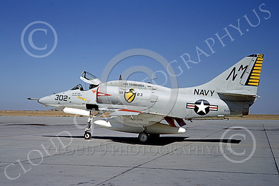 A-4USN 00024 A US Navy Douglas A-4F Skyhawk, 154195, VA-23 BLACK KNIGHTS, USS Ticonderoga, NAS Lemoore 10-1968, military airplane picture, by Douglas Olson
