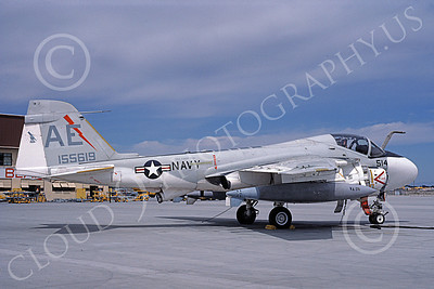 KA-6DUSN 00083 A static Gruman KA-6D Intruder USN 155619 VA-25 FIST OF THE FLEET USS Forrestal NAS Fallon 7-1987 military airplane picture by Michael Grove, Sr