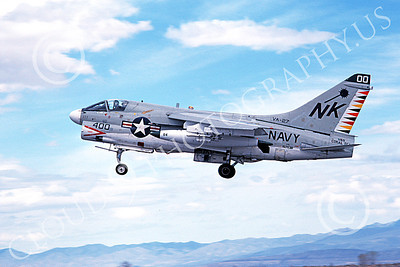 A-7USN 00144 A landing Vought A-7E Corsair II USN 157538 VA-27 ROYAL MACES commanding officer's USS Coral Sea NAS Fallon 5-1981 military airplane picture by Michael Grove, Sr