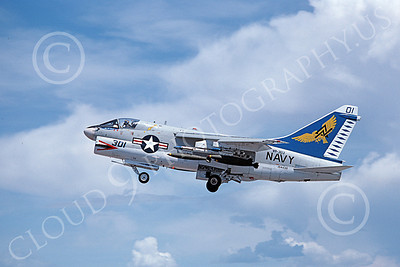 A-7USN 00112 A flying Vought A-7B Corsair II USN 154438 VA-303 GOLDEN HAWKS 5-1989 military airplane picture by Michael Grove, Sr