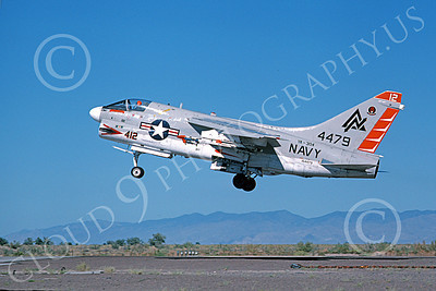A-7USN 00114 A landing Vought A-7B Corsair II USN 154479 VA-304 FIREBIRDS NAS Fallon military airplane picture by Michael Grove, Sr