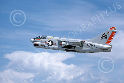 A-7USN 00116 A flying Vought A-7B Corsair II USN 154460 VA-304 FIREBIRDS 5-1980 military airplane picture by Michael Grove, Sr