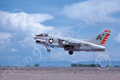 A-7USN 00120 A landing Vought A-7 Corsair II USN 154462 VA-304 FIREBIRDS NAS Fallon 5-1980 military airplane picture by Michael Grove, Sr