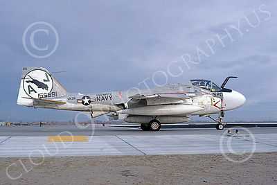 KA-6DUSN 00077 A taxing Gruman KA-6D Intruder USN 155691 VA-35 PANTHERS USS Nimitz NAS Fallon 1-1981 military airplane picture by Michael Grove, Sr