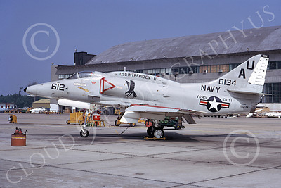 A-4USN 00075 A USN Douglas A-4E Skyhawk attack jet, 150134, VA-45 BLACKBIRDS, USS Intrepid, Cecil Field 20 June 1973, airplane picture, by L B Sides
