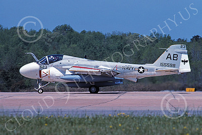 KA-6DUSN 00073 A taxing Gruman KA-6D Intruder USN 155598 VA-45 BLACKBIRDS USS America NAS Oceana 4-1991 military airplane picture by David F Brown
