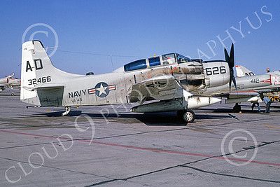 A-1USN 00009 Douglas A-1 Skyraider USN 132466 VA-45 BLACKBIRDS MCAS Yuma 24 March 1964, military airplane picture, by William L Swisher D