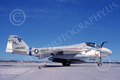 KA-6DUSN 00001 A taxing Gruman KA-6D Intruder USN 149482 VA-52 KNIGHTRIDERS USS Carl Vinson NAS Fallon 6-1989 military airplane picture by Michael Grove, Sr