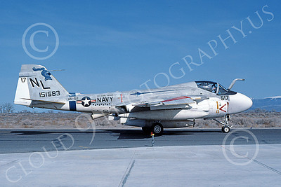 KA-6DUSN 00031 A taxing Gruman KA-6D Intruder USN 151583 VA-52 KNIGHTRIDERS USS Carl Vinson NAS Fallon 3-1984 military airplane picture by Michael Grove, Sr
