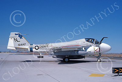 KA-6DUSN 00035 A taxing Gruman KA-6D Intruder USN 154147 VA-52 KNIGHTRIDERS USS Carl Vinson NAS Fallon 3-1984 military airplane picture by Michael Grove, Sr