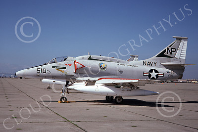 A-4USN 00163 A USN Douglas A-4F Skyhawk attack jet, 154211, VA-55 WARHORSES USS Hancock, NAS Alameda 3-75, airplane picture, by Doug Olson