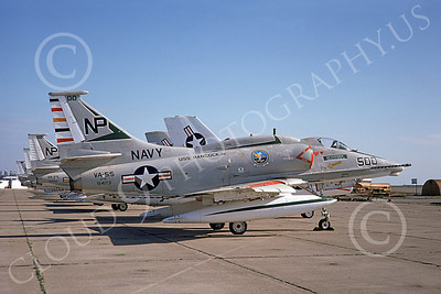 A-4USN 00166 A USN Douglas A-4F Skyhawk attack jet, 154173, VA-55 WARHORSES USS Hancock, commander's plane, NAS Lemoore 3-1975, airplane picture, by Doug Olson