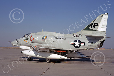 A-4USN 00156 A USN Douglas A-4F Skyhawk attack jet, 155014, VA-55 WARHORSES USS Hancock, NAS Lemoore 10 Oct 1970, airplane picture, by Roy Lock