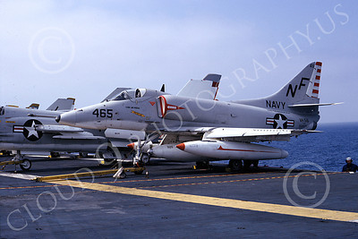 A-4USN 00046 A US Navy Douglas A-4E Skyhawk attack jet, 152035, VA-56 CHAMPIONS, USS Ticonderoga, 10-1965, airplane picture, by William L Swisher