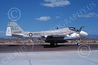 KA-6DUSN 00069 A taxing Gruman KA-6D Intruder USN 155588 VA-65 TIGERS USS Dwight D Eisenhower NAS Fallon 4-1984 military airplane picture by Michael Grove, Sr