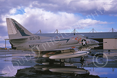 A-4USN 00103 A USN Douglas A-4 Skyhawk attack jet, 148578, VA-76 SPIRITS OF '76 USS Independence, NAS Lemoore 2-1969, airplane picture, by Doug Olson