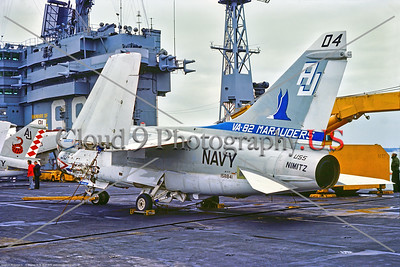 A-7USN-VA-82 001 A static, wings folded, USN Vought A-7E, 158841, VA-82 MARAUDERS USS Nimitz, AJ tail code, 9-1975 Portsmouth, military airplane picture by Stephen W  D  Wolf     BBB_9468     Dt