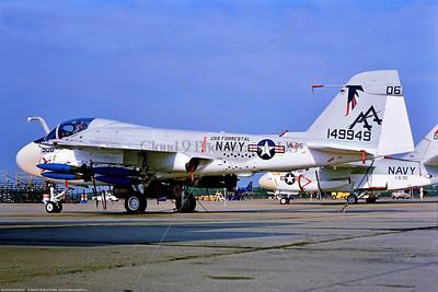 A-6-USN-VA-85 003 A static Grumman A-6 Inruder, USN jet bomber, 149949, VA-85 BLACK FALCONS, USS Forrestal, Bicentennial markings, 9-1976 Oceana, by Stephen W  D  Wolf   EEE_9264  Dt