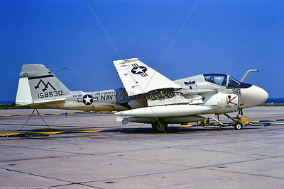A-6-USN-VA-85 003 A static Grumman A-6E Inruder, USN jet bomber, 158530, VA-55 BLACK FALCONS, USS Forrestal, 8-1973 Oceana, military airplane picture by Stephen W  D  Wolf   CCC_7307  Dt