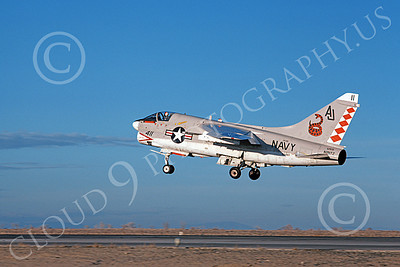 A-7USN 00110 A landing Vought A-7E Corsair II USN 156847 VA-86 SIDEWINDERS USS Nimitz NAS Fallon 1-1981 military airplane picture by Michael Grove, Sr