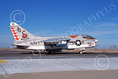 A-7USN 00101 A taxing Vought A-7E Corsair II USN 159306 VA-86 SIDEWINDERS USS Nimitz NAS Fallon 1-1981 military airplane picture by Michael Grove, Sr