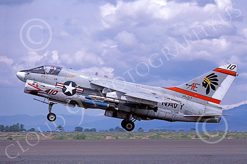 A-7USN 00100 A landing Vought A-7E Corsair II USN 157586 VA-87 GOLDEN WARRIORS USS Independence NAS Fallon 5-1980 military airplane picture by Michael Grove, Sr