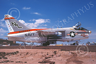 A-7USN 00111 A taxing Vought A-7E Corsair II USN 159976 VA-94 SHRIKES commanding officer's NAS Fallon 8-1978 military airplane picture by Michael Grove, Sr