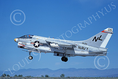 A-7USN 00152 A landing Vought A-7E Corsair II USN 156848 VA-94 SHRIKES USS Kitty Hawk NAS Fallon 6-1980 military airplane picture by Michael Grove, Sr