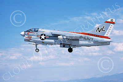A-7USN 00150 A landing Vought A-7E Corsair II USN 156828 VA-94 SHRIKES NAS Fallon 8-1978 military airplane picture by Michael Grove, Sr