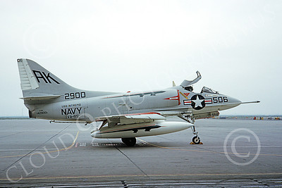 A-4USN 00107 A USN Douglas A-4B Skyhawk attack jet, 142900, VA-95 GREEN LIZARDS, USS Intrepid, 12 March 1966, airplane picture, by Duane A Kasulka
