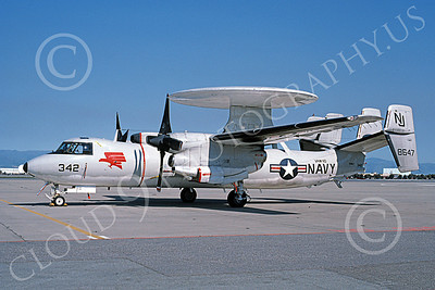 E-2USN 00127 A static Grumman E-2 Hawkeye USN 158647 VAW-110 FIREBIRDS NAS Moffett 3-1987 military airplane picture by Michael Grove, Sr