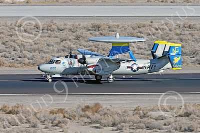 E-2USN 00257 A sharkmouth Grumman E-2C Hawkeye US Navy 165820 VAW-112 GOLDEN HAWKS USS John C  Stennis taxis at NAS Fallon 1-2015 military airplane picture by Peter J Mancus