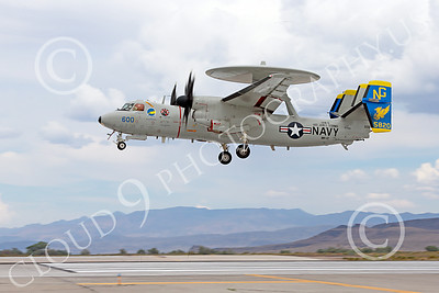 E-2USN 00008 A Grumman E-2C Hawkeye USN 165820 VAW-112 Golden Hawks USS John C Stennis lands at NAS Fallon 7-2014 military airplane picture by Peter J Mancus