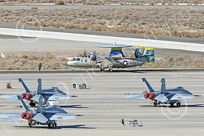 E-2USN 00297 A sharkmouth Grumman E-2C Hawkeye US Navy 165820 VAW-112 GOLDEN HAWKS USS John C  Stennis taxis at NAS Fallon 1-2015 military airplane picture by Peter J Mancus