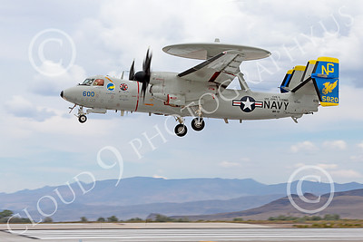E-2USN 00134 A Grumman E-2C Hawkeye USN 165820 VAW-112 Golden Hawks USS John C Stennis lands at NAS Fallon 7-2014 military airplane picture by Peter J Mancus