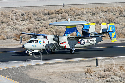 E-2USN 00259 A sharkmouth Grumman E-2 Hawkeye USN VAW-112 GOLDEN HAWKS USS John C  Stennis taxis at NAS Fallon 1-2015 military airplane picture by Peter J Mancus