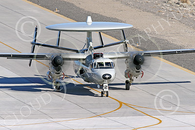 E-2USN 00255 A Grumman E-2C Hawkeye US Navy 165817 VAW-113 BLACK EAGLES USS Ronald Reagan taxis at NAS Fallon 1-2015 military airplane picture by Peter J Mancus