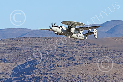E-2USN 00276 A Grumman E-2 Hawkeye US Navy VAW-113 BLACK EAGLES USS Ronald Reagan climbs out after taking off at NAS Fallon 1-2015 military airplane picture by Peter J Mancus