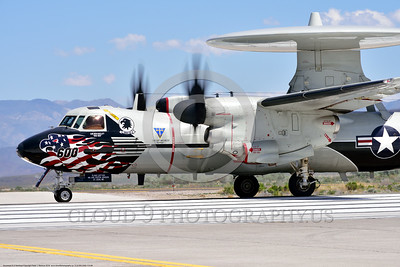 E-2USN-VAW-113 009 Close up of the nose of a colorful Grumman E-2C Hawkeye USN 165819 VAW-113 BLACK EAGLES USS Carl Vinson on NAS Fallon's runway ready for take-off 4-2016 military airplane picture by Peter J  Mancus
