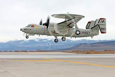 E-2USN 00216 A landing Grumman E-2C Hawkeye USN VAW-116 Sun Kings USS Carl Vinson NAS Fallon 11-2013 military airplane picture by Peter J Mancus