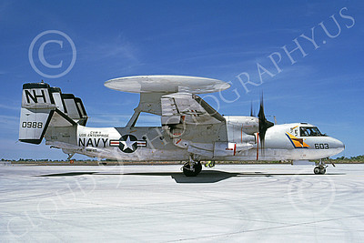 E-2USN 00111 A taxing Grumman E-2C Hawkeye USN 160988 VAW-117 WALLBANGERS USS Enterprise NAS Fallon 5-1985 military airplane picture by Michael Grove, Sr