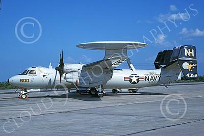 E-2USN 00109 A static Grumman E-2 Hawkeye USN 164352 VAW-117 WALLBANGERS USS Carl Vinson 8-2000 military airplane picture by Dan MacDonald