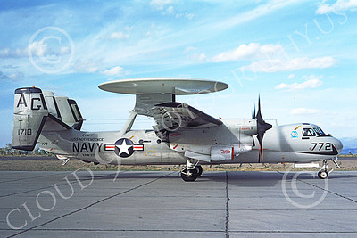 E-2USN 00103 A taxing Grumman E-2B Hawkeye USN 151710 VAW-117 WALLBANGERS USS Independence NAS Fallon 10-1976 military airplane picture by Michael Grove, Sr