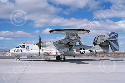 E-2USN 00147 A taxing Grumman E-2C Hawkeye USN 162800 VAW-121 BLUE TAILS USS George W Washington NAS Fallon 4-1991 military airplane picture by Michael Grove, Sr