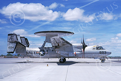 E-2USN 00133 A taxing Grumman E-2C Hawkeye USN 161224 VAW-122 HUMMERS-GATORS USS Forrestal NAS Fallon 5-1989 military airplane picture by Michael Grove, Sr