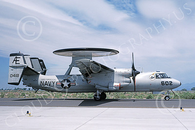 E-2USN 00131 A taxing Grumman E-2C Hawkeye USN 160418 VAW-122 HUMMER-GATORS USS Forrestal NAS Fallon 6-1987 military airplane picture by Michael Grove, Sr